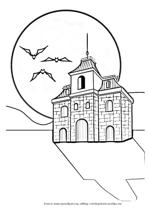 Haunted house - Coloring pages